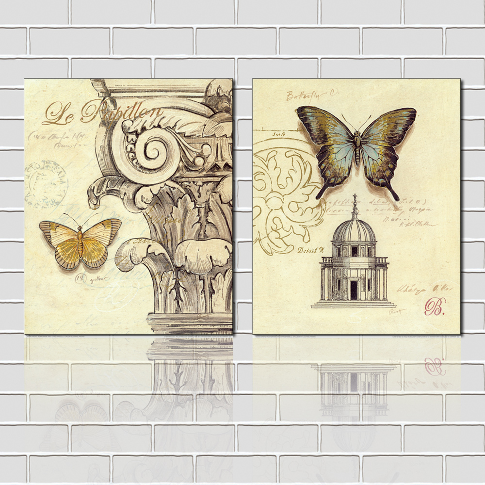 Home Goods Wall Decor: Free-Shipping-2-Pieces-Group-Paintings-Vintage-European