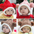 2015New Winter Baby Hat 0 5Y Infant Unisex Multicolored Warm Knitted Hats Two Balls Cap Xmas