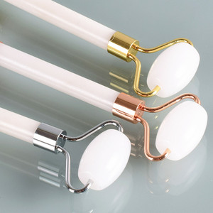 Eye Neck Double Head White Jade Roller Massager Facial Relax for face