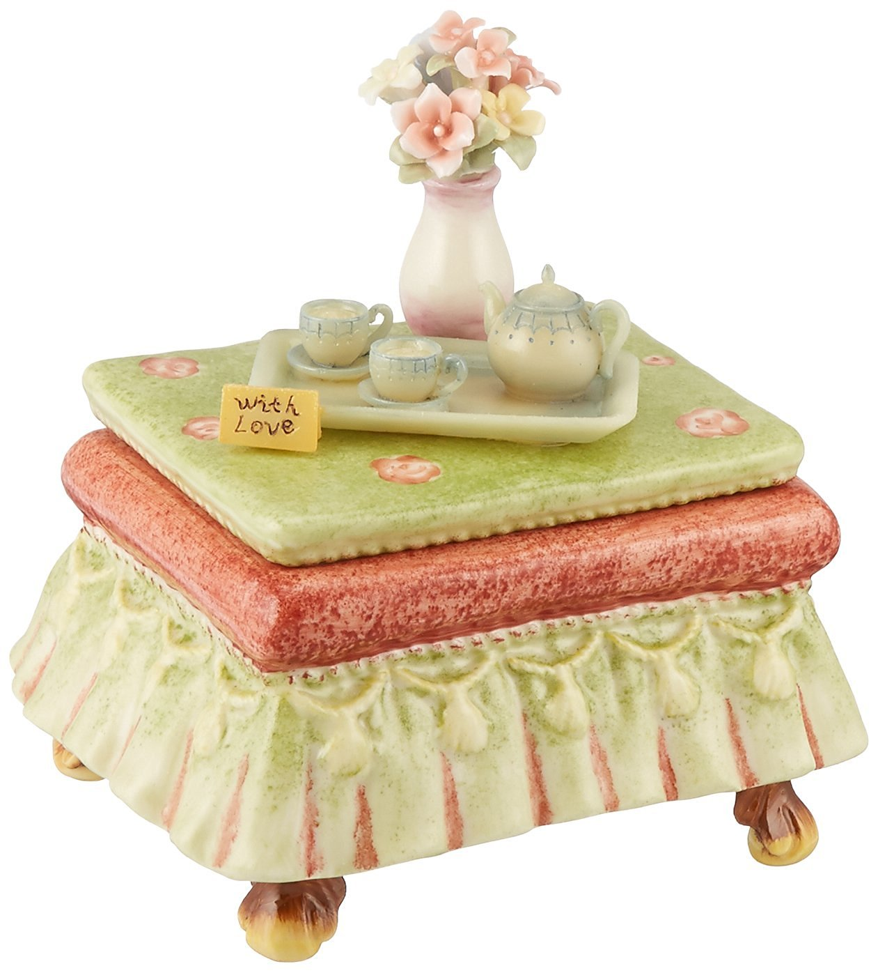 Cosmos 80109 Fine Porcelain Tea Side Table Musical Figurine, 4-3/8-Inch