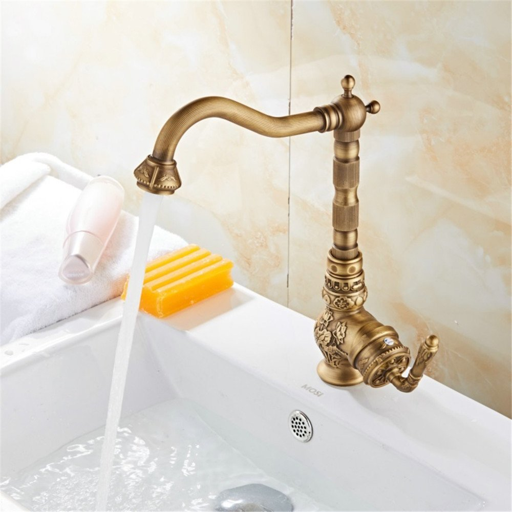 FHLYCF Retro style of kitchen faucet, cold hot water, whole copper, European style copper color rotatable trough faucet