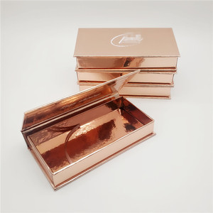 Private Label Gold Paper Empty False Eyelash Box 3D Mink Lashes Custom Eyelash Packaging