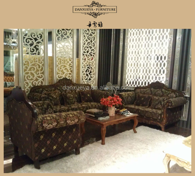 Dxy 845 Old Style Wooden Sofa Fabric