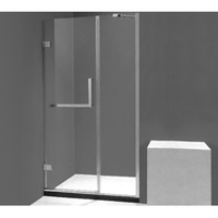 Hinge door shower screen acrylic fabric frameless tempered glass bathtub shower cubicles enclosures fico sri lanka(6307)