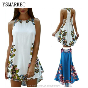 Womens Floral Crewneck Beach Sundress Summer Ladies Party Beach Tunic Loose Mini Short Dress White/Blue E836