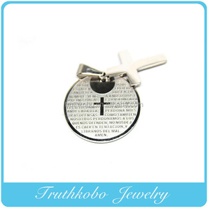High quality fashion round Bible verse pendant in IPG edge with hanging cross religious stainless steel jewelry TKB-P022