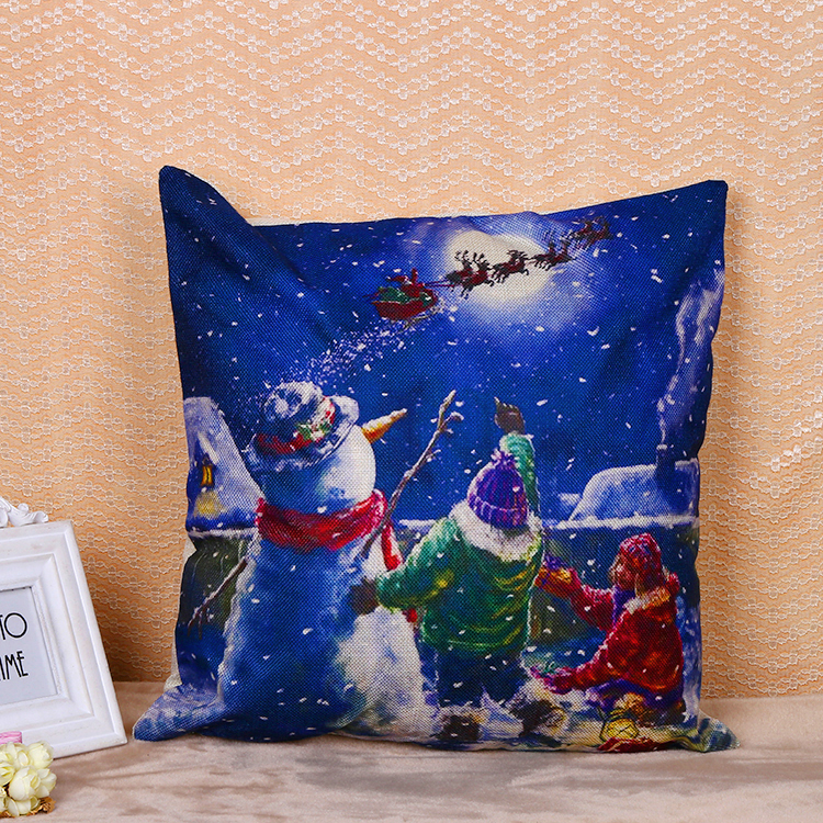 Christmas snowman cotton linen cushion cover for gift decoration