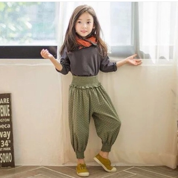 Ms68535c Korean Fashion Polka Dots Kids Girls 2016 Jogger Pants