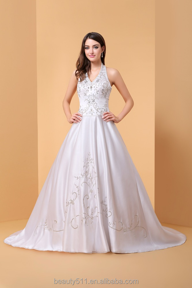 Ball Gown Wedding Dress Sparkle & Shine Floor-length Halter Lace Satin Tulle with Sequin P058