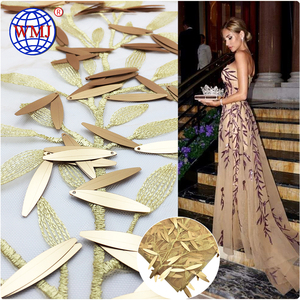 Wholesale African design Colorful 3D Gold Sequins tulle embroidered net lace fabric for evening dress
