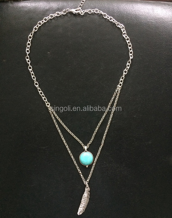 New Fashion Antique Silver Imitation Turquoise Bead Leaf Layer Vintage Necklace
