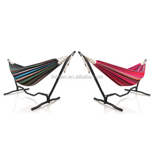 Outdoor 2 Person Garden Space Saving Steel Stand Hammock Camping Folding Double Hammock Chair Swings Travel Portable Hammocks