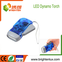 Factory Wholesale EDC Logo Printed ABS Material Cheap Best Hand Press Crank 3 led Dynamo Flashlight