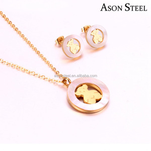 New Fashion Joyeria Acero Inoxidable For Lovely Bear Gold Round Shell Stainless Steel Jewelry Sets