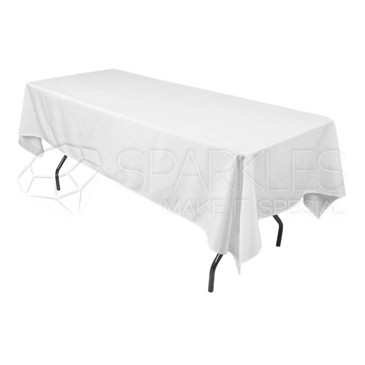 "Sparkles Make It Special 10-pcs 60"" x 102"" inch Rectangular Polyester Cloth Fabric Linen Tablecloth - Wedding Reception Restaurant Banquet Party - Machine Washable - White"