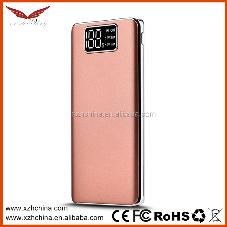 10000mAh Ultra thin Mobile Power Bank Li-ion Polymer with Built In USB Cable Pocket Power External Battery Charger +gift