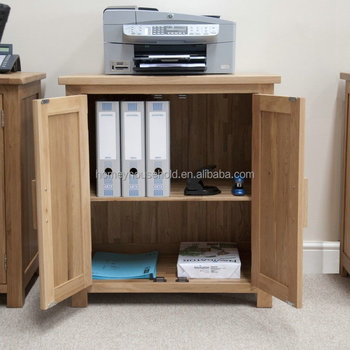 Solid Oak Modern Furniture Home Office Printer Storage Cupboard