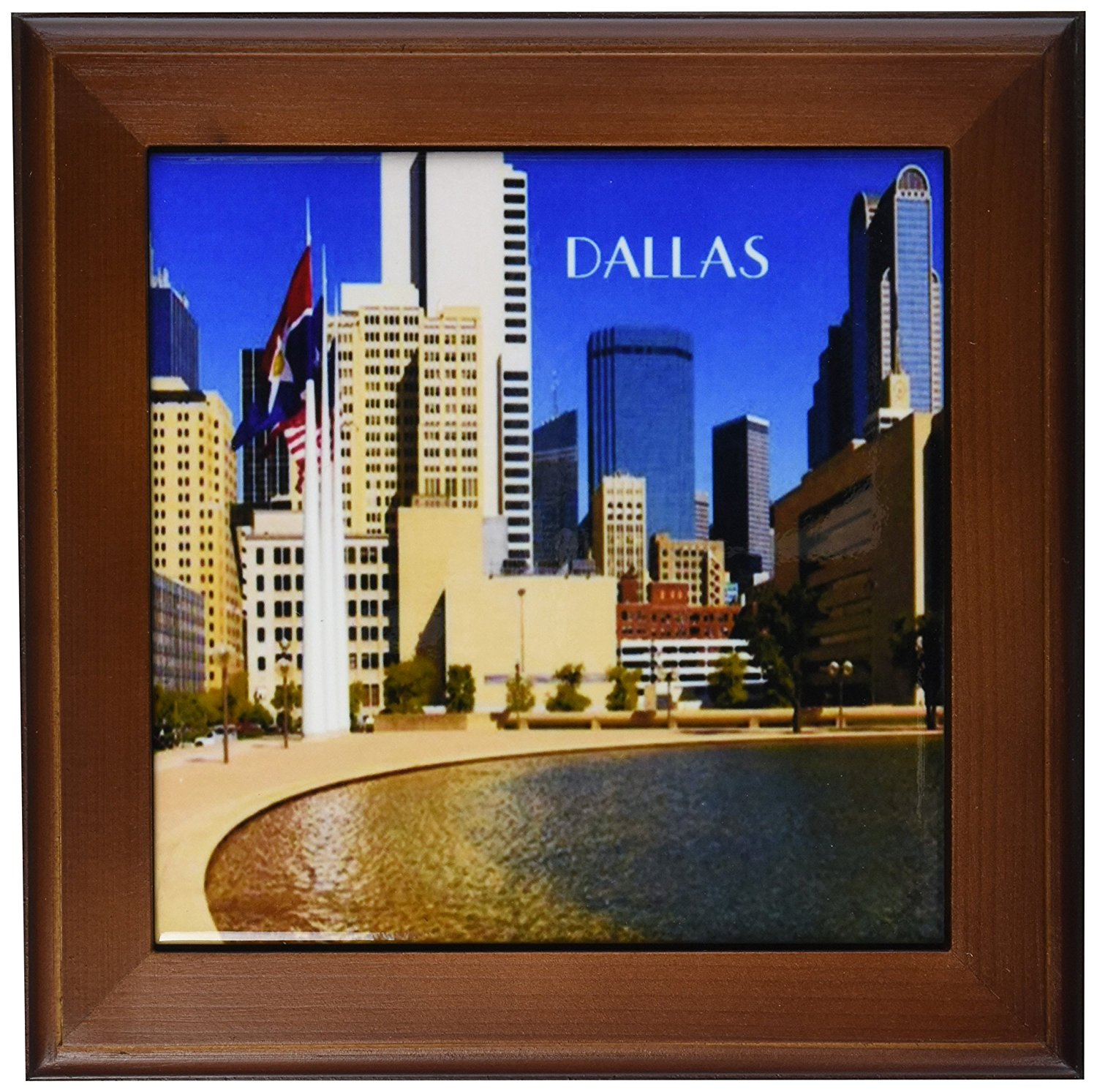 3dRose ft_62492_1 Downtown Dallas Texas Framed Tile, 8 by 8-Inch