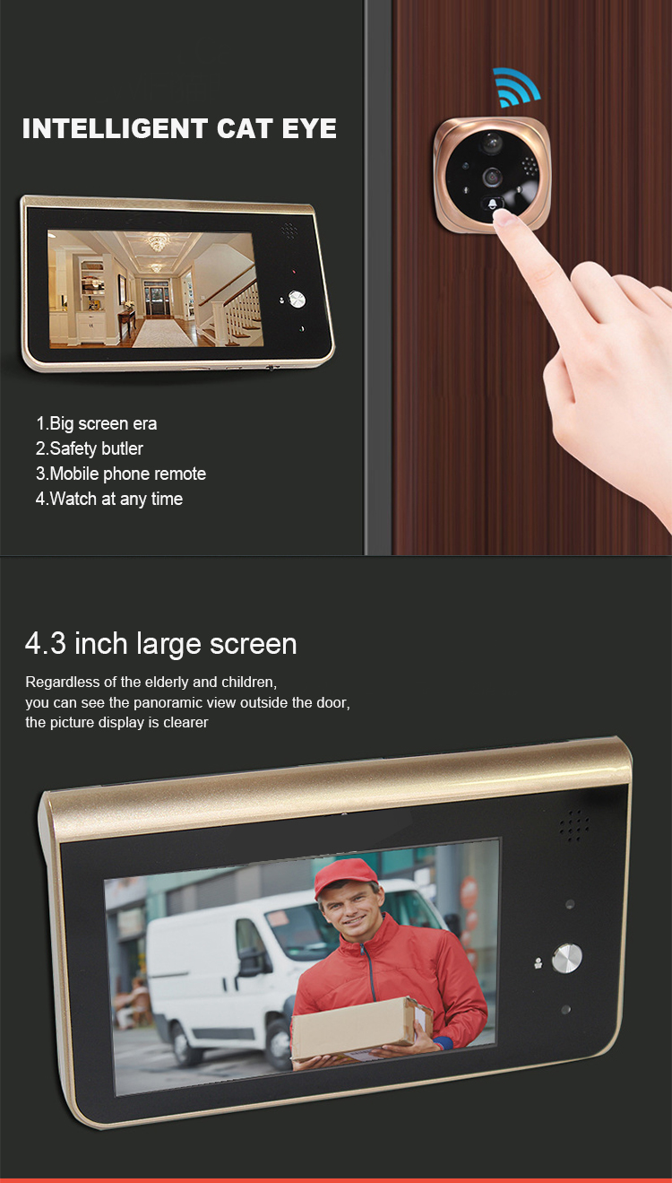 4.3インチSmart Wireless 3600 2600mah Video Doorbell HD720P WiFi Digital Door Viewer Door Bell Camera