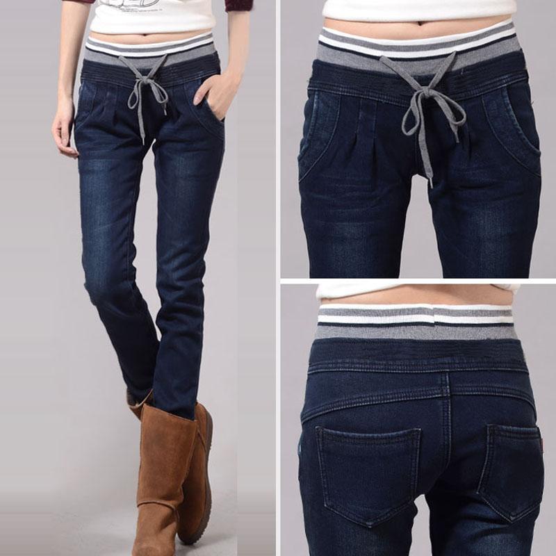 Осень и зима большой бархат утолщение джинсы брюки прорезиненная тесьма узкие брюки брюки-карандаш одежда
