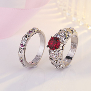 YWMT 2018 Wholesale Double-deck Zircon Crystal Red Gem 1 Pair Platinum Finger Ring For Women