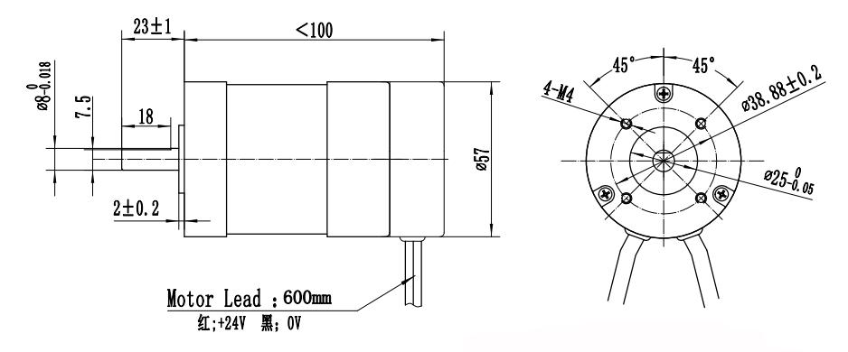 57mm BLDC Motor met geïntegreerde driver