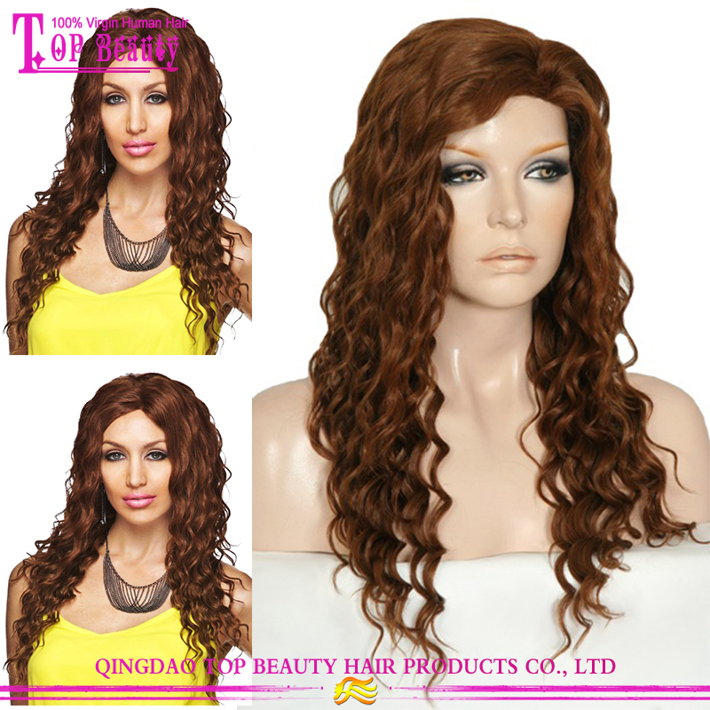 High Quality 100% Remy Human Hair Color #30 Deep Wave Full Lace Wig