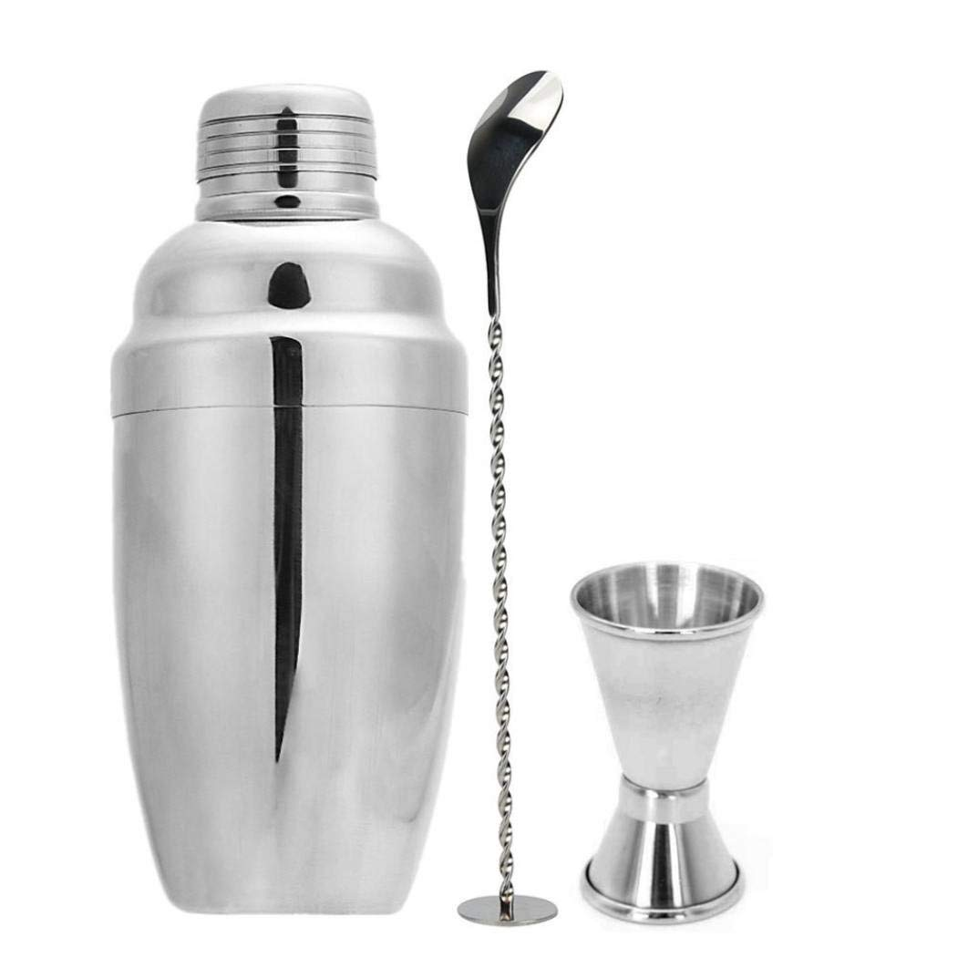 Sacow Cocktail Shaker Set, 3Pcs Stainless Steel Bartender Tool Mixer Drink Bar Shaker Mixing Spoon Measure Cup 750ml