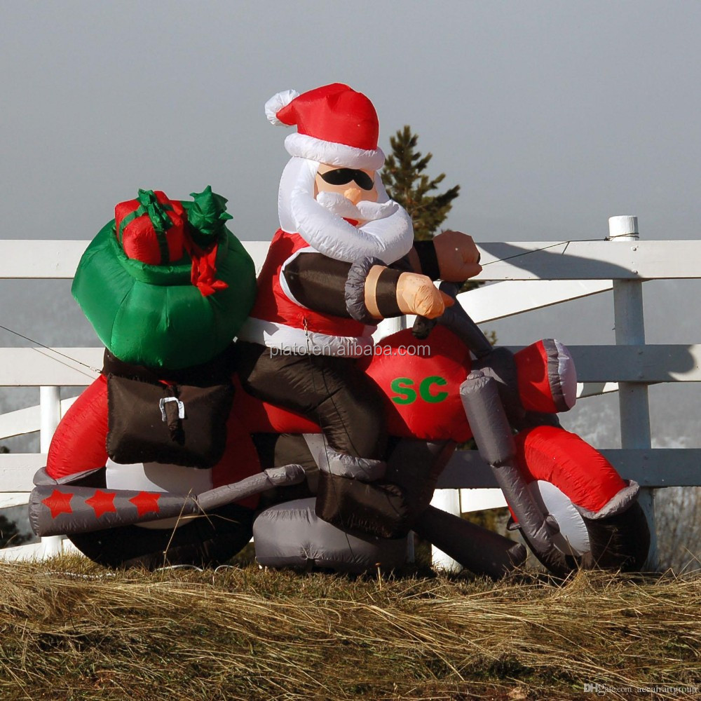 Attractive Inflatable santa on motorcycle,christmas father clause on motorcycle replica for hot sale