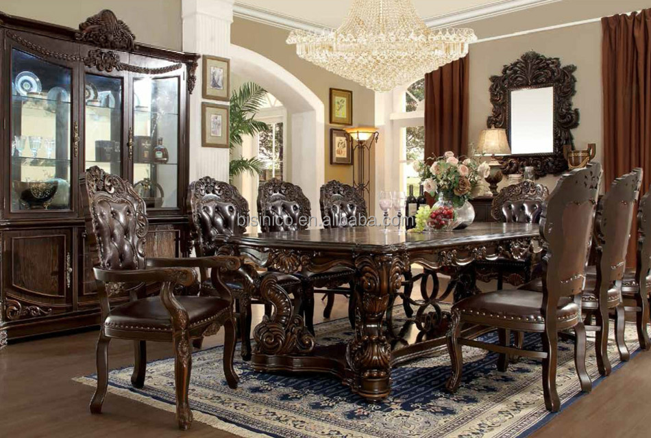 traditional american style wooden hand carved walnut dining table