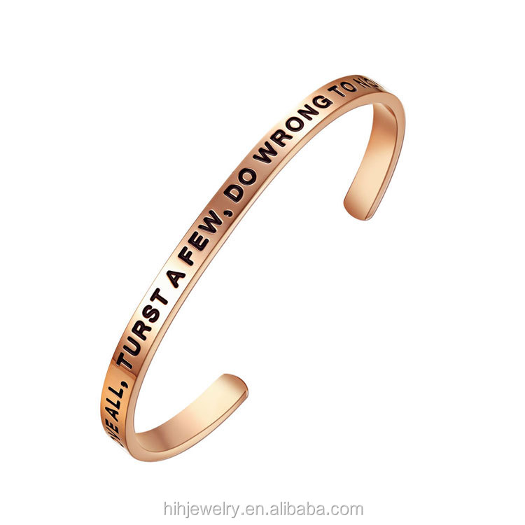 61d164b6fc7 Personalized gold Silver Positive Mantra Bracelet Motivational Quotes Cuff  Bracelet Jewelry,Stacking Bangle Women