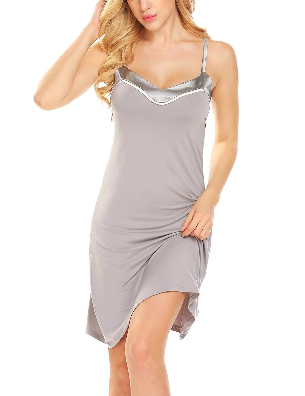 161b5664ccf Get Quotations · Legors legros Women Full Slips Short Lingerie Nightie Dress  V Neck Nightwear Chemise Cami S-