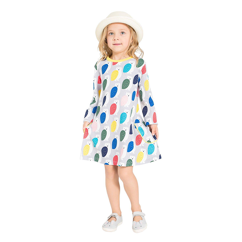 af53fa30826 Get Quotations · Zebra Fish Toddler Girls Dresses Long Sleeve Casual  Dresses Good Print and Stripe Pockets Size 2