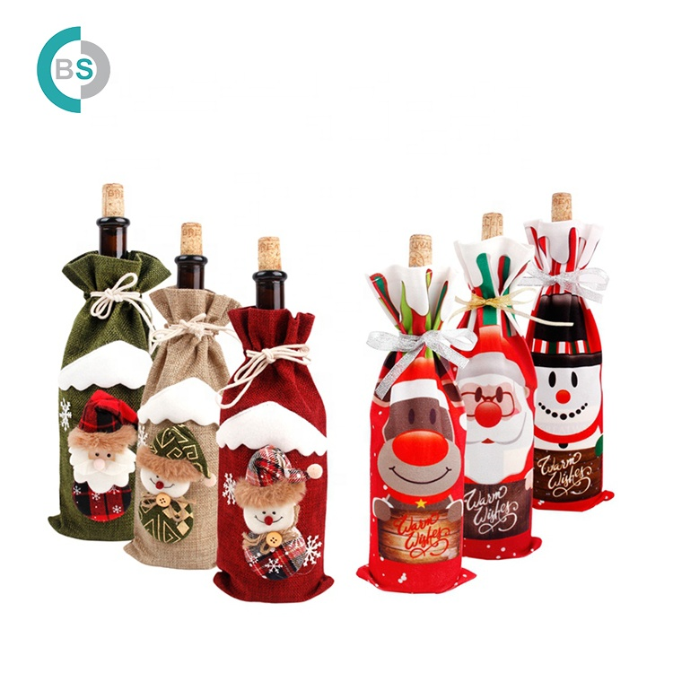 Christmas Decorations Home Santa wine bag christmas wine bottle gift bag for Christmas gift