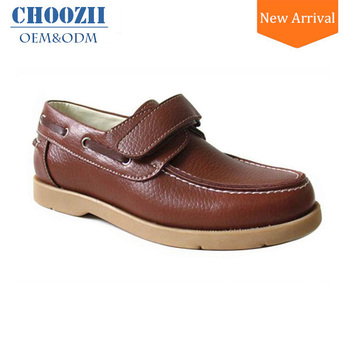 8758d9604f8d 2017 China Wholesale Trending Kids Boys Brown Leather Boat Shoes ...