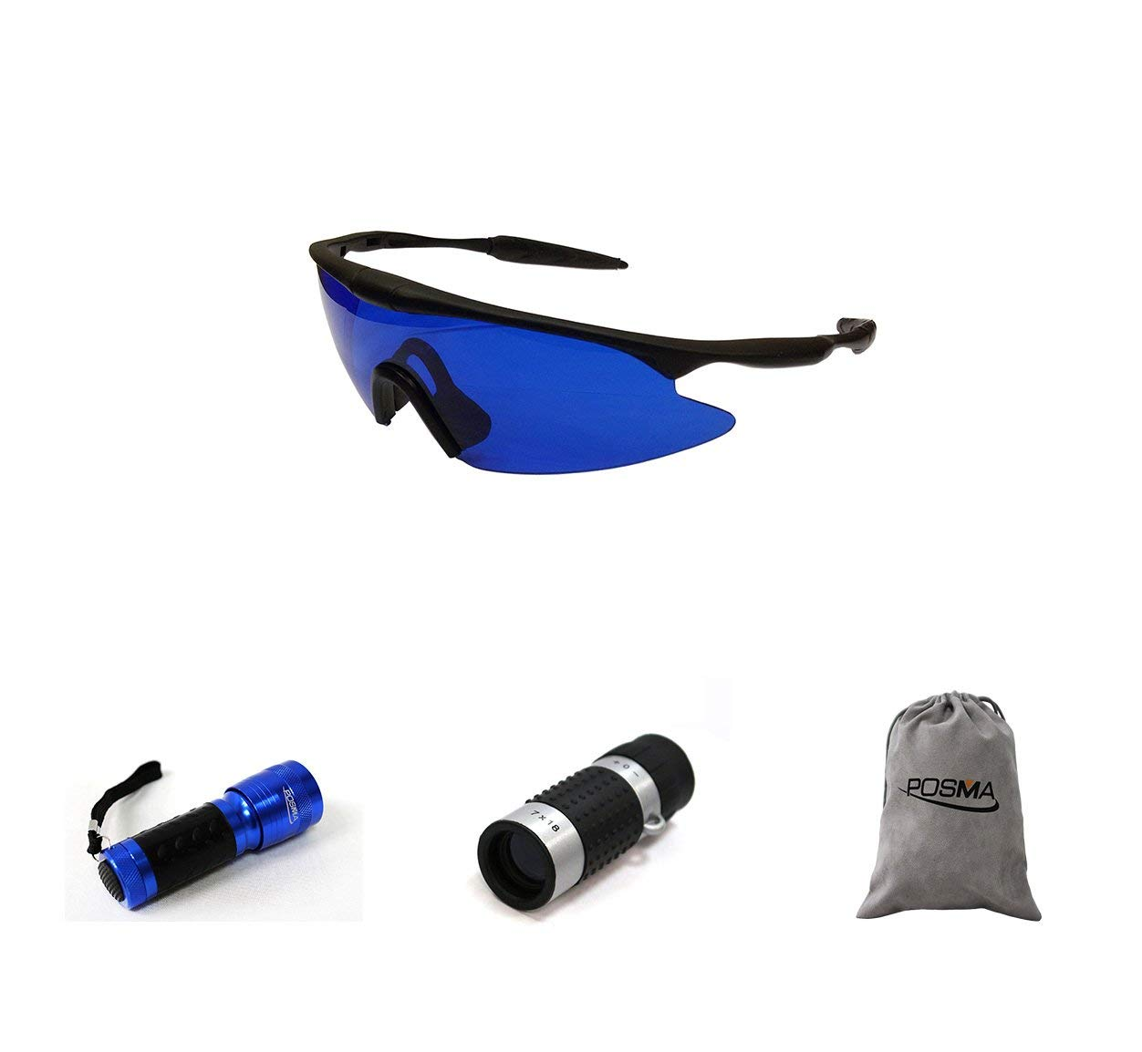 POSMA SGG-060D Golf Ball Finder Glasses Bundle Set with Golf Ball Finder Torch Ultraviolet UV Flashlight + Golf Rangefinder High Definition Mini Monocular Pocket Scope Flannel Storage Bag