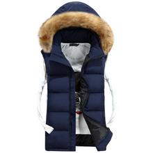 Pánská vesta s kapucí s kožíškem
