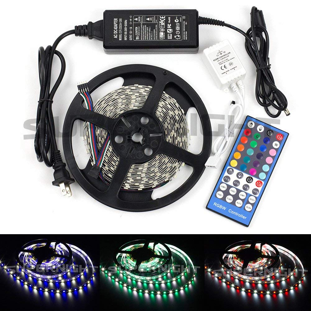 BZONE DC 12V 16.4FT 5M RGB+Cool White Multi-colored LED Flexible Strip 300 leds RGBW Color Changing Kit, SMD5050 LED Strip Light Rope Lights + 40Key Remote Controler + 12 volt 5A Power Supply