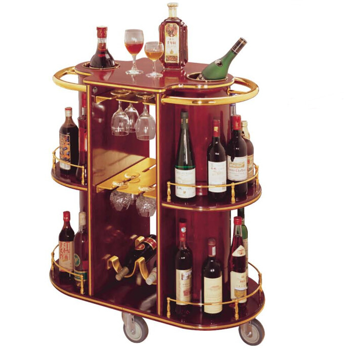 Hotel articles luxury oval wood dull red mobile bar for Mobili bar cart