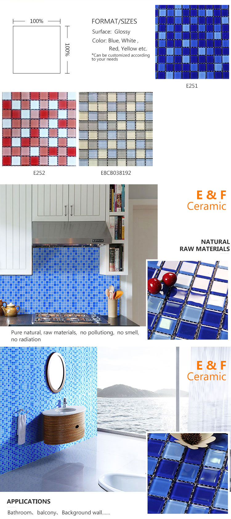 Mixed Blue Glass  Swimming Pool Tile Blue Swimming Pool Glass Mosaic Tiles