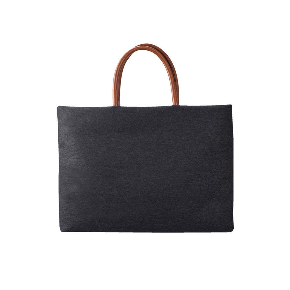 KingTo Laptop Tote Bag, Fashion Ultra-thin Shoulder Bag for Women Carrying Office 12 13 14 15 Inch Universal[Black]
