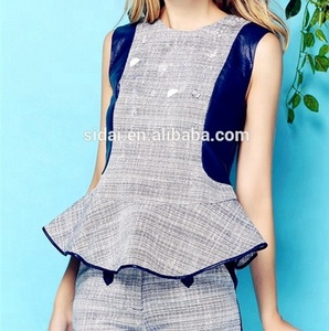 spring summer off shoulder cute office ladies sexy short pants suits combined with pu leather