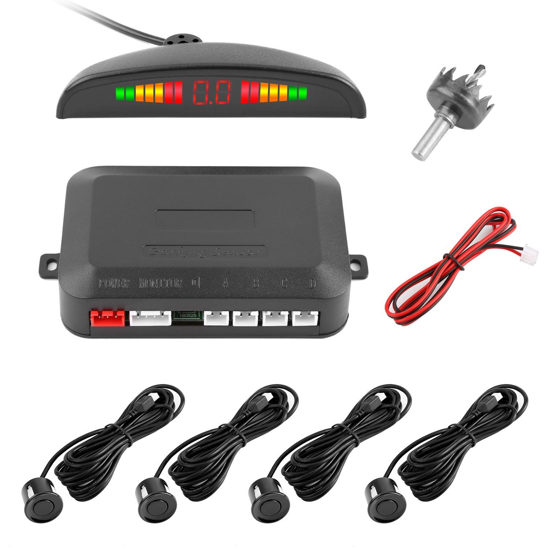 Reversing Sensor, YOKKAO LED Display Auto Rear Reverse Alert System Car Parking Sensor Backup Kit with 4 Sensors (Black)