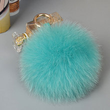 Colorful healthy excellent fox fur pompons for bags keys