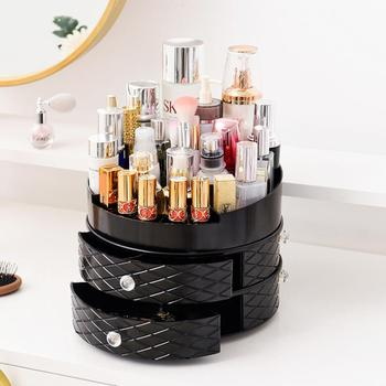 Hot Sale Large Acrylic Plastic Makeup Storage Box High Clear 360 Rotating Cosmetic Organizer With Drawer Plastic Lipstick Holder