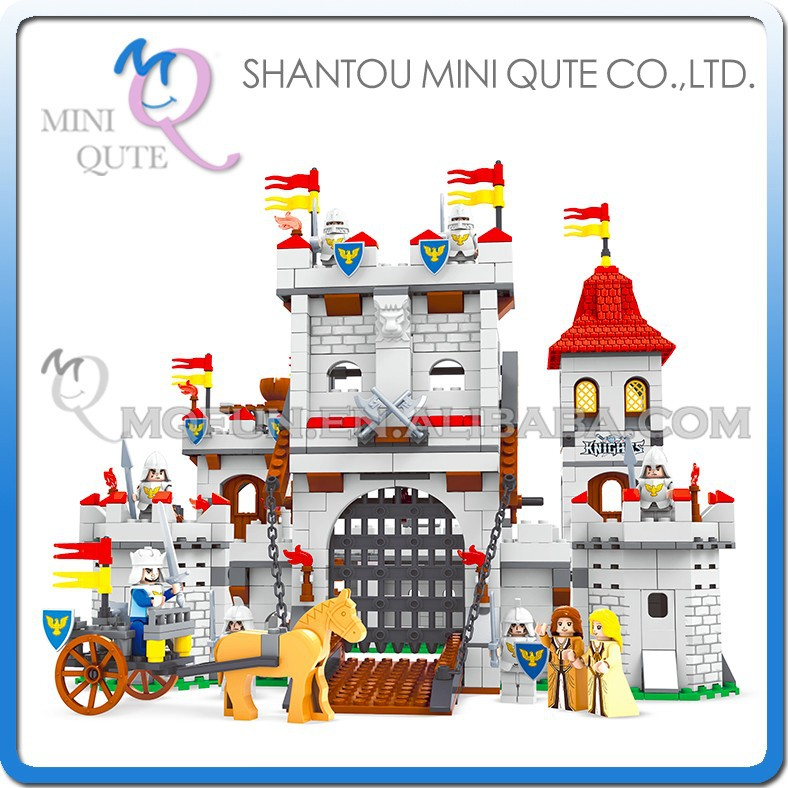 Mini Qute DIY boy ancient castle carriage king & princess soldier action figure plastic building block educational toy NO.27110