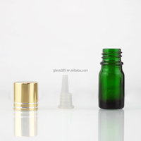 samll sample test 5 ml essential oil green glass bottle with reducer and cap