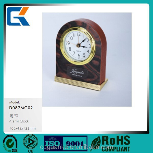 Classic cheap antique brown wooden leather electronic digital alarm clock for hotel supplies