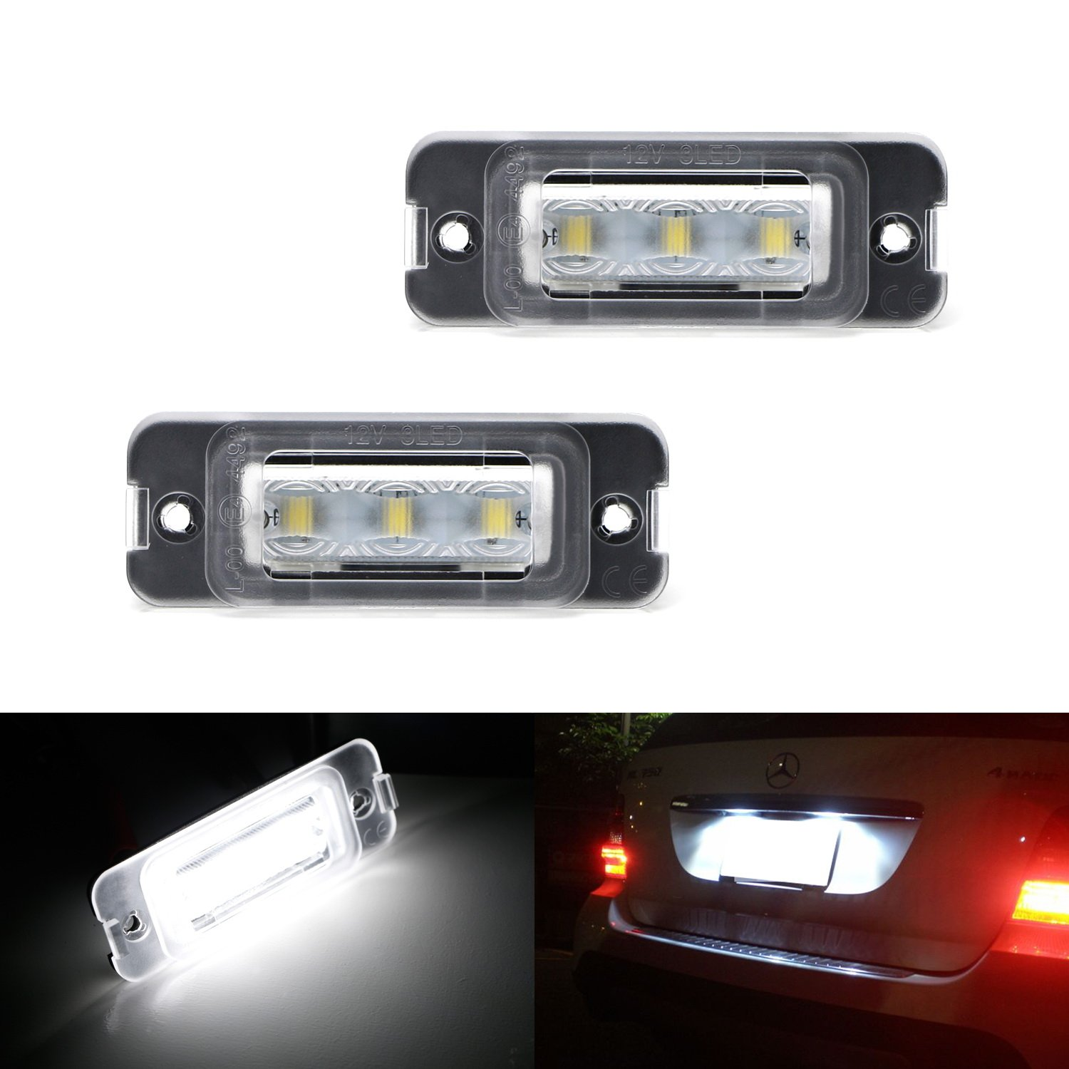 iJDMTOY Xenon White CAN-bus 3-LED License Plate Lights Assy For Mercedes-Benz ML M GL R Class Gasoline Version (W164 X164 W251)