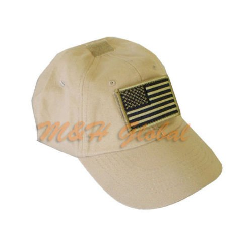 77dab9f5168 Get Quotations · Tactical Special Force Shooters Cap Hat with US American  Flag - TAN